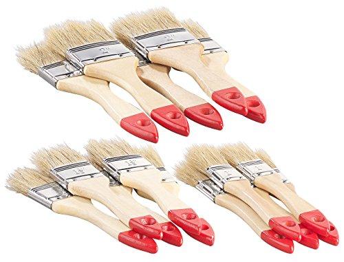 AGT Pinsel: 15-teiliges Flachpinsel-Set mit Holzstielen und Naturborsten, 3 Größen (Pinselset) (Lack Pinsel)