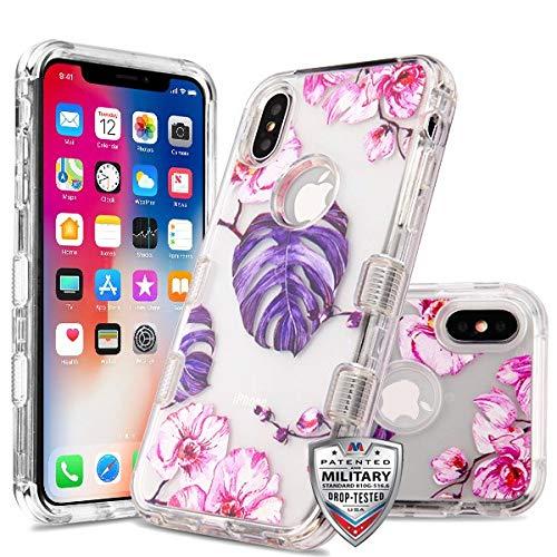 Case+Tempered_Glass + Stylus-Eingabestift MYBAT Hybrid-Schutzhülle für Apple iPhone X/XS/10 (Militär-Zertifiziert), transparent/violett/violett mit Blättern und pinken Blumen -