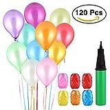 Vegena Luftballons Bunt, 120 Party Luftballons und Ballonpumpe, Pumpe Luftballons Bunte Ballons, Ballon und Luftpumpe, Partyballon, Farbige Ballons für Party Geburtstags Kindergeburtstag Hochzeit