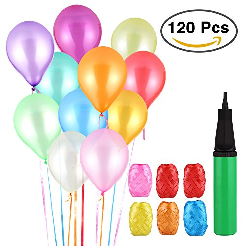 (Vegena Luftballons Bunt, 120 Party Luftballons und Ballonpumpe, Pumpe Luftballons Bunte Ballons, Ballon und Luftpumpe, Partyballon, Farbige Ballons für Party Geburtstags Kindergeburtstag Hochzeit)