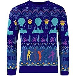 Fortnite Official Merchandise Christmas Jumpers for Men Xmas Jumper Boys Fortnight Gaming Geek Gamer Clothing (Kids S (7-8), Balloon Drop)