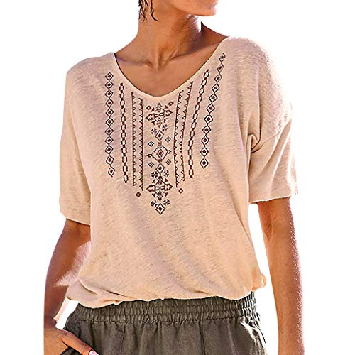 CAOQAO Kurzarm Sommer Shirt Lose Bluse Tops Womens Summer Lässige V-Ausschnitt Kurzarm Printed Casual T-Shirt Top Bluse (Female Darth Vader Kostüm)