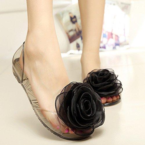 Oasap Femme Sandales Mode Bout Ouvert Fleur Talons Plats Noir