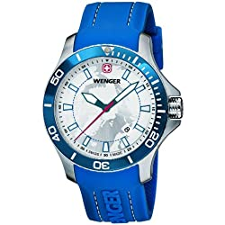 Wenger Arctic Light with Special Carry Case Men's Quartz Watch with Silver Dial Analogue Display and Blue Silicone Strap 010641112