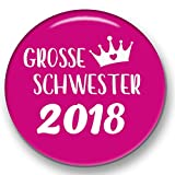 Polarkind Grosser Button Pin Anstecker Große Schwester 2018 (59mm) pink Handmade Geschenk zur Geburt Taufe Babyparty