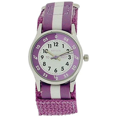 Reflex Time Teacher Lilac amp; White Easy Fasten Girls Childrens Watch REFK0004