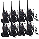 8PCS BF-888S Walkie Talkie 16 Canali 5 km FM Ricetrasmettitore Handheld Messaggio Vocale con LED Luce Auricolare Ricetrasmettitore con Cuffie Originali Singola