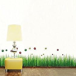 Pegatina Pared Vinilo Decorativo Adhesivo Creativo Rodapié Decoración Para Hogar Dormitorio Cama Ventana Hierba Verde Mariquitas Coloridas
