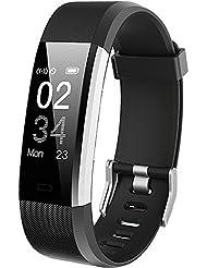 Montre Connectée, GanRiver Bracelet Connecté Cardiofrequencemetre Poignet Smartwatch Fitness Tracker d'Activité Cardio Etanche Podometre Femme Homme Enfant pour Samsung iPhone Android Sport Natation