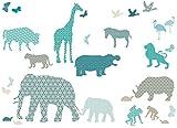 anna wand Wandsticker HELLO AFRIKA TÜRKIS/BLAU/GRAU - Wandtattoo für Kinderzimmer/Babyzimmer mit Tieren aus Afrika in versch. Farben - Wandaufkleber Schlafzimmer Mädchen & Junge, Wanddeko Baby/Kinder