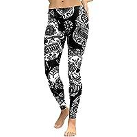 Women High Waist Gym Yoga Pants Mingfa Skull Floral Print Workout Fitness Leggings Running Sports Trousers Black