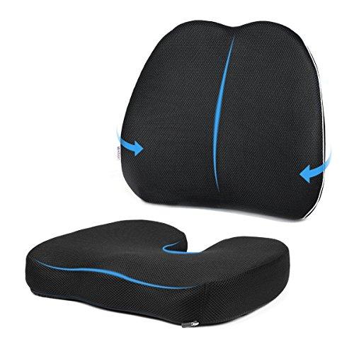 Montrüe cuscino sedile & cuscino ortopedico schiena | cuscino lombare cuscino antidecubito | cuscino ergonomico memory foam, promuovere sano postura, perfetto per ufficio, casa, auto, sedia a rotelle