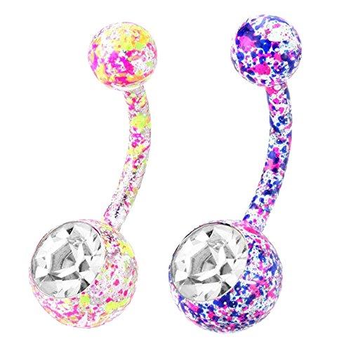 conteverr-2pcs-bling-stainless-steel-paint-splatter-belly-button-ring-body-jewelry-piercing-navel-ba