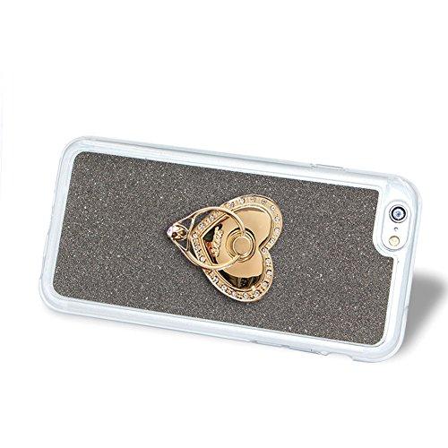 Für iPhone 5/5S/SE 4 Zoll Schrittweise Farbwechsel TPU Cover, Herzzer Bling Glitter Schutz Hülle mit Liebe Herzen Ring Halter, Luxus Sparkles Glänzend Glitzer Silikon Crystal Case Durchsichtig Soft Rü Schwarz Ring Halter