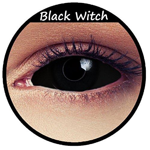 Lentillas esclerales de color negro totalmente sin corrección para Halloween, Carnaval o disfraz de bruja + Caja gratis «Black Witch»
