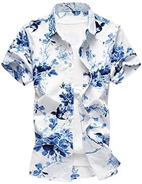 Zhiyuanan Camicia da Uomo Stampata Camicie da Spiaggia All'Aperto di Grandi Dimensioni Casual Floreale Camicetta