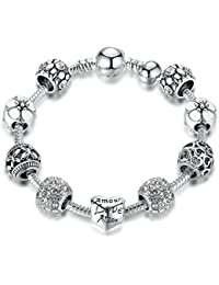 Peora Silver Plated Floral Vintage Love Heart Charm Bracelet For Women Girls