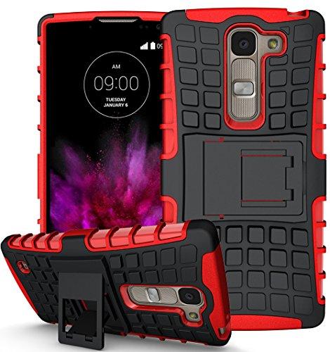 Preisvergleich Produktbild Für LG Spirit Hülle Schwarz+Rot, LG Spirit 4G LTE H440N Hülle, LG Spirit H420 Hülle, LG Spirit Dual SIM Hülle, TPU+PC Schutzhülle
