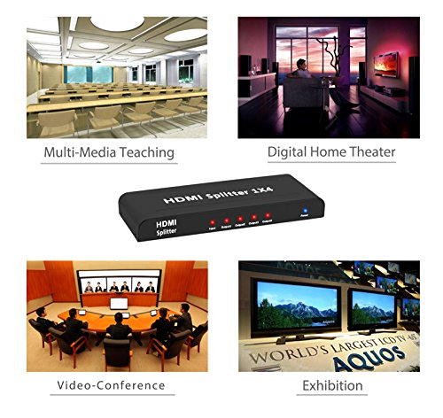 Neoteck 4 Way HDMI Splitter 1080P HD Hub Smart Splitter Box HDMI