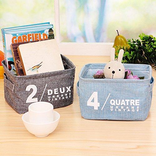 rnow portátil con soporte de caja de almacenamiento de escritorio mesa estante papelería juguete joyas cosméticos organizador de abierto, algodón, 4 unidades, 20.5cm x 17cm x 15cm