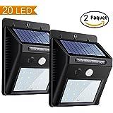 Solarleuchte mit Bewegungsmelder 20 LED Solar Wandleuchte Solarlampe Sicherheits Solarlicht Kabelloses Wasserfest Außenbeleuchtung für Patio, Garten, Türe, Flur, Wege, Terrassen (2 Packung)