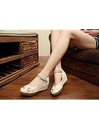 DESY Chaussures brodées, lin, semelle tendineuse, style ethnique, chaussures féminines accrues, mode, confortable, décontracté