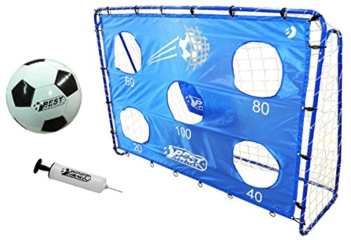 BestSporting Fußballtor Set mit 5 Schusslöchern, Ball, Pumpe, Design Blau (1 inkl. Torwand)