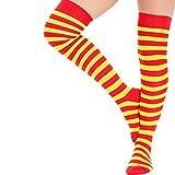 adam & eesa 6 Paar Frauen Volle Streifen über den Knie Socken Kostüm Overknees Cosplay Cheerleader Socken Rot Gelb