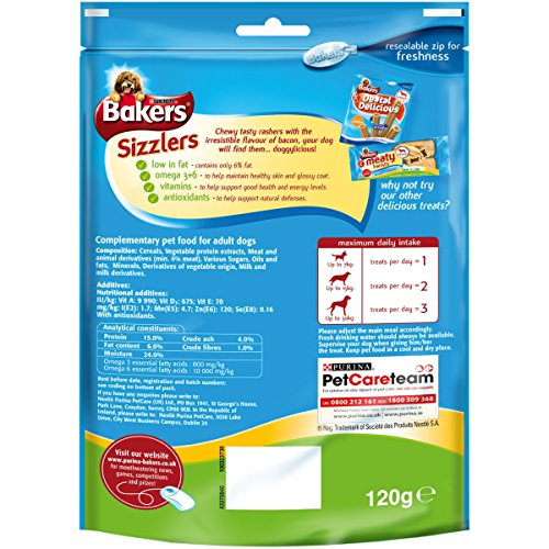 Bakers-Sizzlers-Dog-Treat-Tasty-Bacon-Flavour-120-g-Pack-of-6