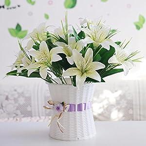 LLPXCC Flores artificiales Canastas con flores tejidas a mano hogar boda azucenas canastas con flores tejidas a mano…