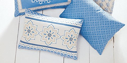 Blue Modern Print Filled Boudoir Cushion 38cm x 28cm