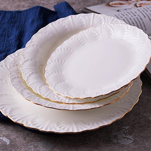 YUWANW Pure Bone China Dish Steak Auflaufform Western Auflaufform Fisch und Dessertteller, Keramik Haushalt Pastateller Gold Trim, 19cm Platte Bone China Gold Trim