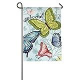 Citihomy Hausgarten Flagge Dekorativ Für Draußen Innenpartei Yardflagge Willkommen im Schmetterlingshaus 12 X 18 Zoll / 18 X 27 Zoll