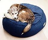 orthopädisches Hundebett Hundekissen STOCKHOLM oval rutschfest, creme weiß nachtblau Größe XL (nacht blau)