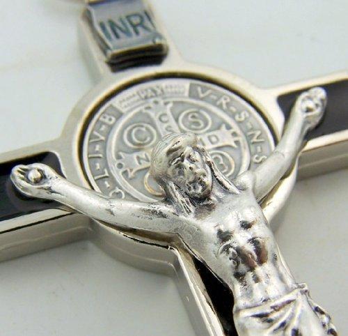 Medaille St. Benedikt (7,6cm St. Benedikt Kruzifix-Anhänger, Silber oxidiert, mit Emaille, Medaille mit religiösen Gebet)