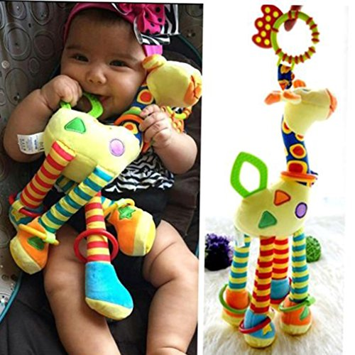 Hengsong  Stroller Hanging Musical Toy Giraffe Hanging Bell Crib Rattle Toy Chew Toy