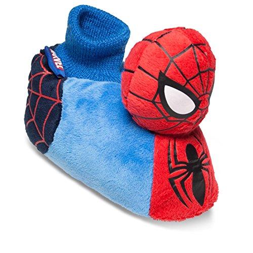 SAMs Disney Plüsch Hausschuhe Spiderman Comic 18-28 Anti Rutsch Sohle Schlappen Pantoffel Puschen, TH-Spiderbl Blau