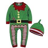 Wanlianer Weihnachtskleid Kinder Kinder Santa Elf Kostüm Weihnachten Ausrüstung Kostüm Set Weihnachtskleidung für Kinder (Farbe : Grün, Größe : 70cm)