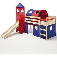 Preisvergleich für IDIMEX Spielbett Rutschbett Hochbett mit Rutsche BENNY, natur lackiert, Kiefer massiv 90x200 cm, mit Rutsche Vorhang Turm und Tunnel in blau/rot