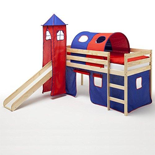 Spielbett Rutschbett Hochbett mit Rutsche BENNY, natur lackiert, Kiefer massiv 90x200 cm, mit Rutsche Vorhang Turm und Tunnel in blau/rot