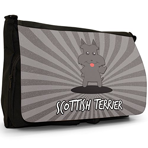Scozzese Cartoon cani grande borsa a tracolla Messenger Tela Nera, scuola/Borsa Per Laptop Scottish Terrier, Scottie