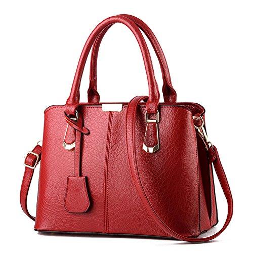 fanhappygo Fashion Retro Leder Abendtaschen Damen Schulterbeutel Umhängetaschen totes Rot