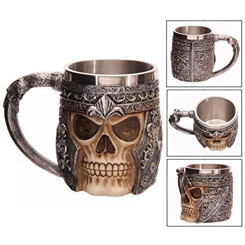 Itian Edelstahl Totenkopf Drink Cup Creative 3D Tassen Totenkopf Skull Mug