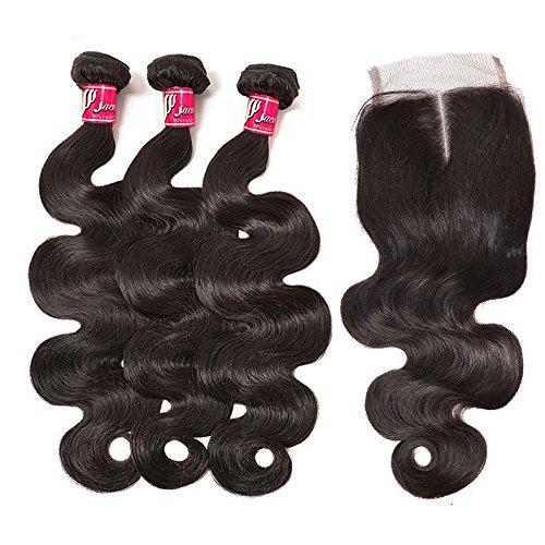 SAOMAI®7A Brasilien Gerade cf Körper Welle Haarschmuck Perücken Haarverlängerungen Haarverlängerungen 100% Menschliches Haar 3 Strängen mit schließung (18