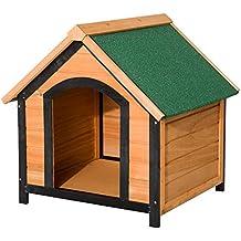 PawHut Caseta de Madera Maciza para Perro - Casa de Perro Impermeable con Patas Elevadas para Interior y Exterior 72x76x76cm