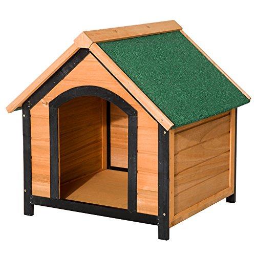 PawHut Caseta de Madera Maciza para Perro - Casa de Perro Impermeable