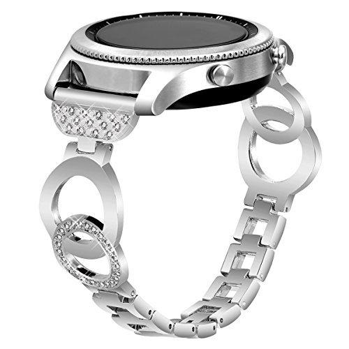 VOMA for Samsung Gear S2 Classic Bands & Gear Sport Bands, Metal Strap for Samsung Gear Sport(SM-R600) & Gear S2 Classic(SM-R732 & SM-R735) Smartwatch (NOT for Gear S2) Bangle Silver