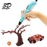 CosyVie 3D Penna Stampa 3D Pen Filamento Professionale per Bambini con display LED con filamenti PLA da 1,75 mm Ricarica per adulti, scarabocchiare, artista, ragazze, fai da te, disegno ecc. (Blu)