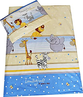 Babies-Island A 2 Piece Bedding Set Pillowcase+Duvet Cover For Baby Toddler To Fit Cot/Cot Bed - BLUE ZOO IMAGINE - low-cost UK light shop.
