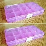 Sguan-wu 15 Ranuras extraíbles Joyas Transparentes Caja de Almacenamiento de la píldora Casos Organizador del sostenedor - Rosa